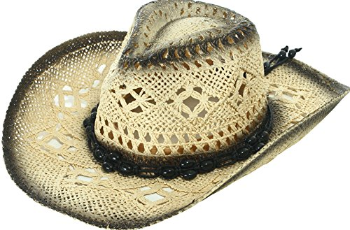(Women and Men's Classic Western Cowboy Hat Summer Straw Sun Hat, Black)