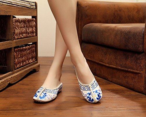 Sandals Beige Womens Flower Womens Insun Insun Loafer Embroidered 0xRRYO
