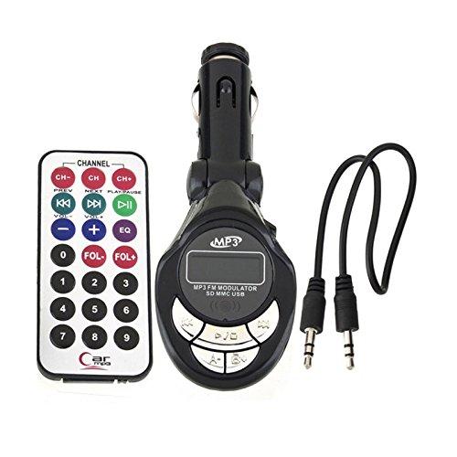 Kit Lecteur MP3 pour Voiture Transmetteur FM sans Fil Modulateur Chargeur USB Lecteur de CD SD T/él/écommande Noir EERTX Transmetteur FM Bluetooth