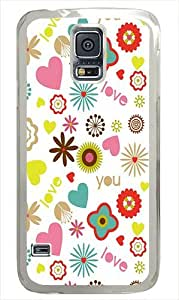 Samsung Galaxy S5 Case Cover - Love Floral PatternS5PW.jpgHard Case Cover Compatible with Samsung Galaxy S5 - Polycarbonate -White