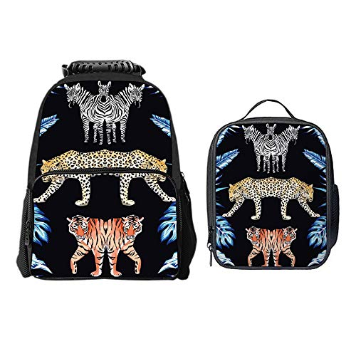 SARA NELL Zebra Panther Tiger Mirror Blue Leaves Black 2 Pcs Children School Backpack Set Elementary Primary Bookbag and Lunch Bag Set for Girls -