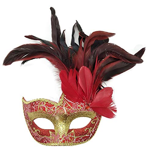 Biruil Feather Masquerade Mask Eyemask Halloween Mardi Gras Cosplay Party Face Mask (Crack Red) -