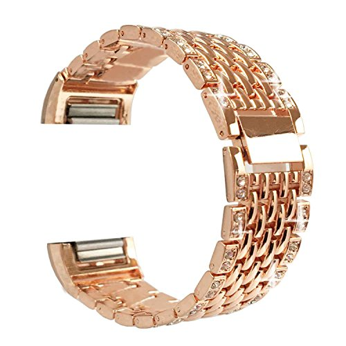 For Fitbit Charge 2 Replacement Wristbands Adjustable Stainless Steel Metal Fitbit Charge 2 Bands Bracelet with Rhinestone Bling Silver Rose Gold Black (Rose Lager)