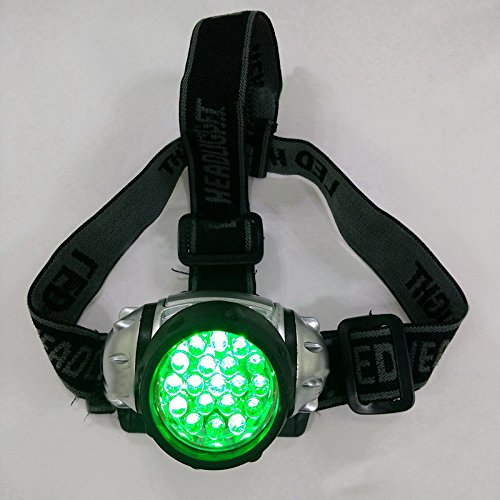 Intensity Headlamp - Ocamo Grow Room Headlamp 19 LED High Intensity Green Head Light for Hydroponics Horticulture