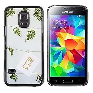 FECELL CITY // Duro Aluminio Pegatina PC Caso decorativo Funda Carcasa de Protección para Samsung Galaxy S5 Mini, SM-G800, NOT S5 REGULAR! // Green Summer Oh La Drawing Fern Art