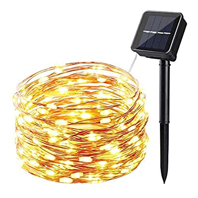 SUPER BRIGHT String Lights 120 LEDs Solar Powered with Lithium Battery By ICICLE, Starry String Copper Wire Fairy Lighting for Decorating, Garden, Patio, Wedding, Holiday Decorations