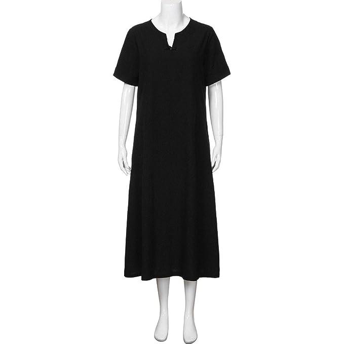 b131d64546 Plus Size Cotton Linen Bohemia Solid Short-Sleeved Fashion Design Art Casual  Summer Midi Dress
