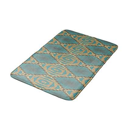 Paillasson de Salle de Bain Style Ethnique Bleu Sarcelle ...