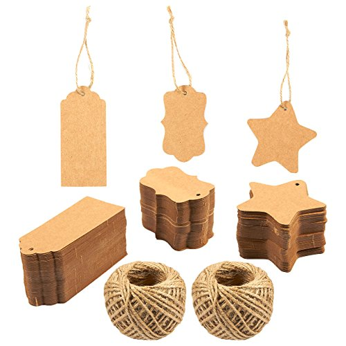 300-Count Kraft Paper Tags - Hang Tags - 3 Different Styles - Includes Total of 131.2 Feet of Jute String, Brown