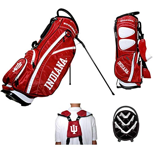 Team Golf NCAA Indiana Hoosiers Fairway Golf Stand Bag, Lightweight, 14-way Top, Spring Action Stand, Insulated Cooler Pocket, Padded Strap, Umbrella Holder & Removable Rain Hood ()