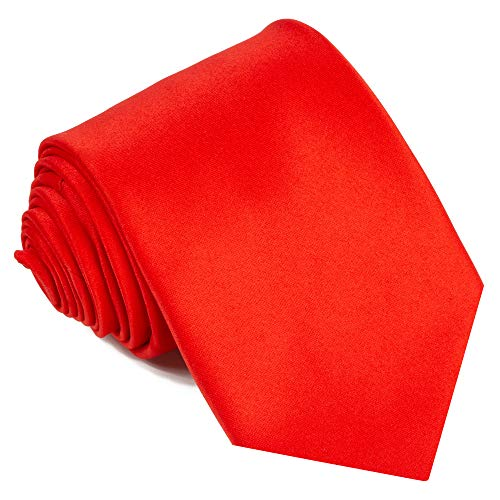 (Ties For Men Satin Necktie - Mens Solid Color Neck Tie Wedding Neckties (Red))