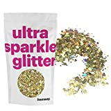 Hemway Gold Gold Holographic Mix Glitter Chunky Multi Purpose Dust Powder Arts & Crafts Wine Glass Decoration Weddings Flowers Cosmetic Face Eye Body Nails Skin Hair Festival 50g