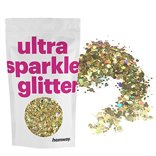 Hemway Gold Holographic Mix Glitter Chunky Multi Purpose Dust Powder Arts & Crafts Wine Glass Decoration Weddings Flowers Cosmetic Face Eye Body Nails Skin Hair Festival 10g