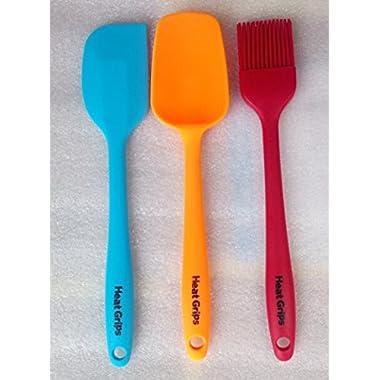 Heat Grips Heat Resistant Multi Color Non Stick Spatula Set, 3-Piece