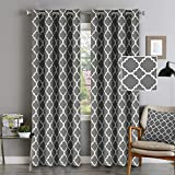 Flamingo P Light Blocking Moroccan Insulated Blackout Drapes Printed Window Curtains for Living Room, Grommet Top, Set of Two Panels, Each 84 by 52- Mild Gray