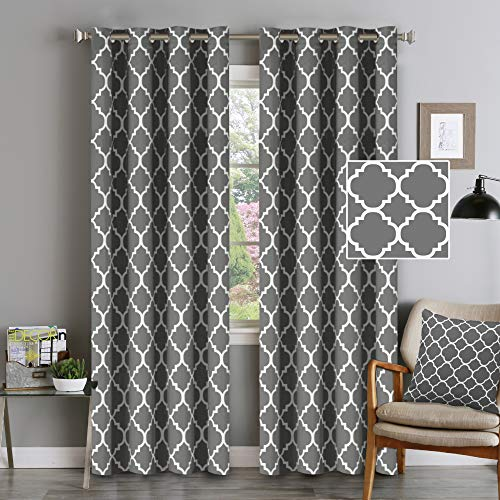 Flamingo P Light Blocking Moroccan Insulated Blackout Drapes Printed Window Curtains for Living Room, Grommet Top, Set of Two Panels, Each 84 by 52- Mild Gray ()