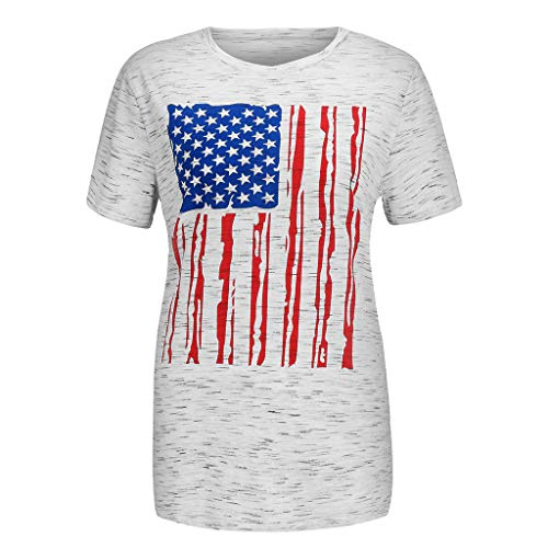 Women's Print T-Shirt Short Sleeve Fashion American Flag
