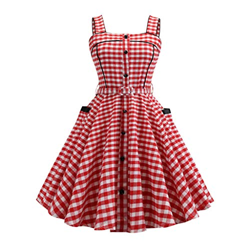 Vintage Swing Dress for Women,SMALLE◕‿◕ Women 1950s Vintage Retro Plaid Print Evening Party Sleeveless Swing Dress Red