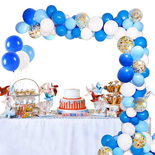 Birthday Party Balloon Garland Kit - 90 Latex Balloons Blue, White, Sky Blue, Confetti Balloon, Balloons Garland Strip for Balloon Arch Kit, Boy Party, Baby Boy Shower, Wedding Graduation Party ()