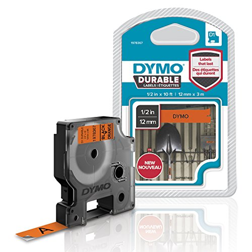 DYMO D1 Durable Labeling Tape for LabelManager Label Makers, Black Print on Orange Tape, 1/2