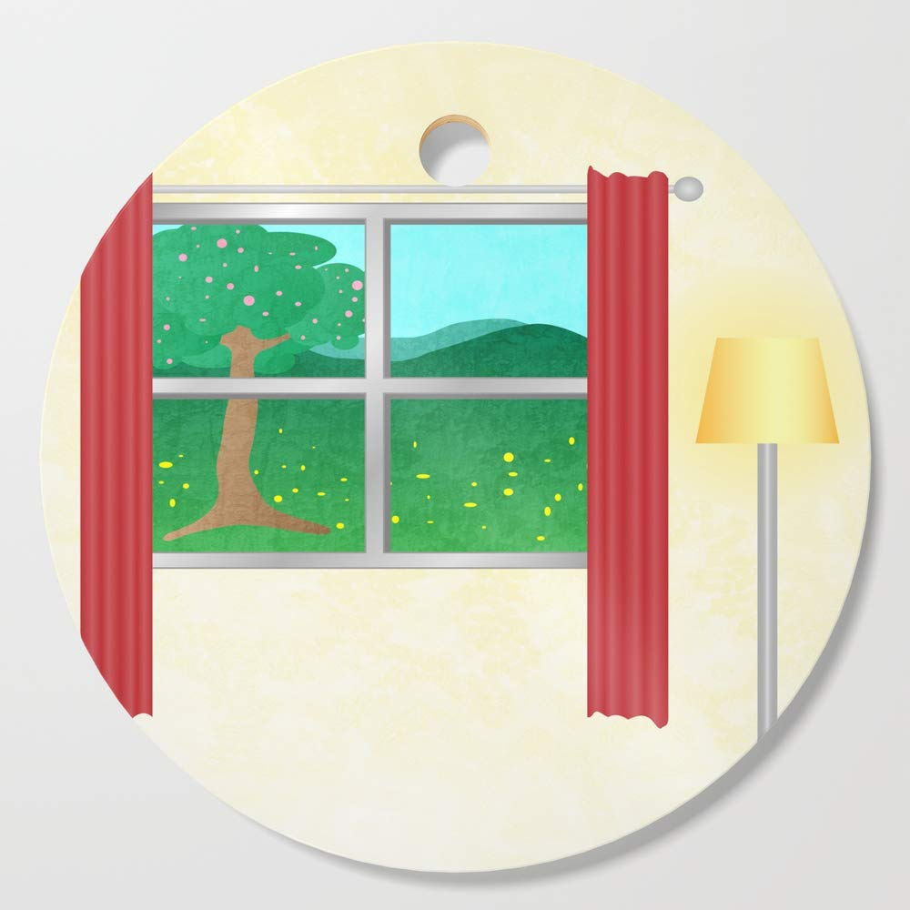 Society6 Wooden Cutting Board, Round, Summer window view by hereswendy