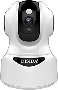 【32G Pre-Install】 DISIDA 2M Surveillance WiFi Wireless Indoor Alexa Smart Camera for Home Office Dog Older Pet with Two Way Audio Motion Detection Night Vision Pan/Tilt/Zoom 2.4G IP