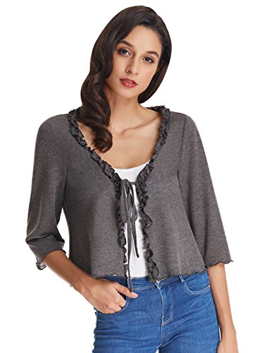 Kate Kasin Lightweight Short Bolero Shrug Cardigian for Juniors Teens Grey Size XL KK0826