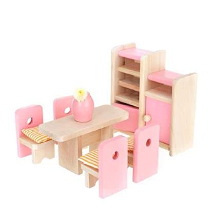 Amazon.com: Aisster(TM) Wooden Furniture Dollhouse Miniature Pink ...