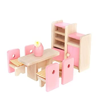 AissterTM Wooden Furniture Dollhouse Miniature Pink Dining Room Set Children Toy