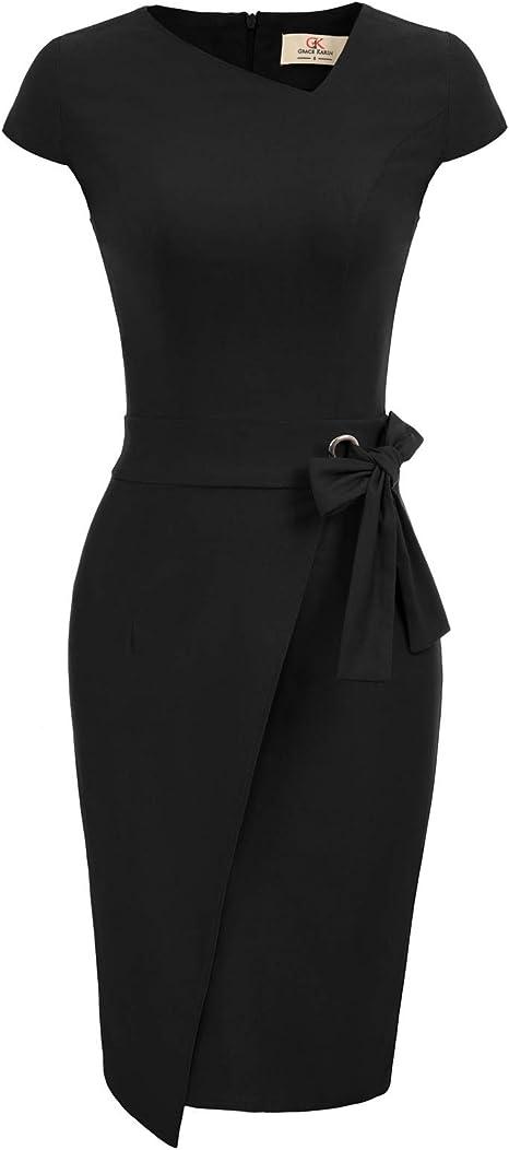 GRACE KARIN Bleistiftkleid Rockabilly Vintage Kleid Damen Business Kleider CL987