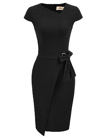 19ff7d95ac52e GRACE KARIN Women's Irregular Neck Bodycon Short Sleeve Dress Front Slit  Bandage Midi Dresses with Belt at Amazon Women's Clothing store: