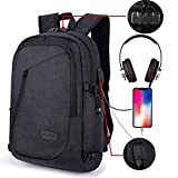 AmazingBag Business Water Resistant Polyester Laptop Backpack with USB Charging Port and Lock Fits Under 17-Inch Laptop and Notebook (Black)