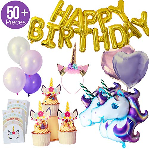Unicorn Balloons Party Supply Set - Includes Cake Toppers, Large Unicorn Balloons, Gold Text Banner, Goodie Bags and Glittery Headband, Perfect Supplies for a Pink Party with Happy Girls: 50 pcs.