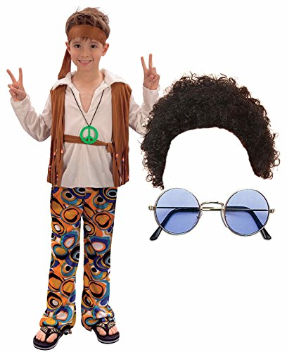 Boys Girls 60S 70S Hippy Fancy Dress Costume Outfit With Wig & Glasses Age -