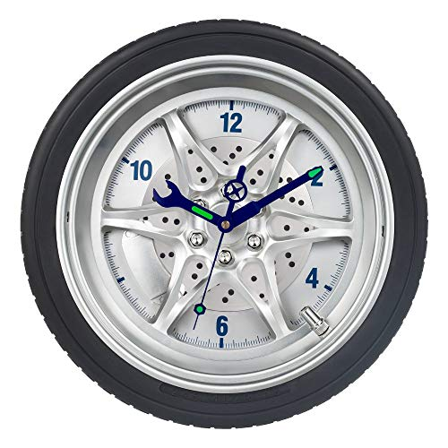 (SkyNature Garage Wall Clocks, Car Enthusiast, Mechanic, Man Tire Rim Clock with Luminous Gadgets Hands, Silent Non-Ticking Battery Operated Clock for Kids Bedroom, Home Decor - 14 Inch Wheel)