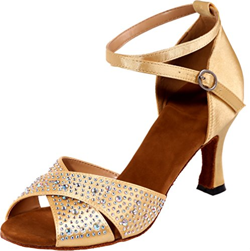 Soft Rhinestone Sole Peep Shoes Dance Toe Find 3IN Ankle Sudue Nice Gold Satin Womens Straps Professional wHRSn8XYq