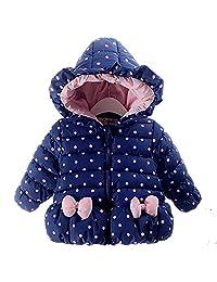 REWANGOING Little Girls Bowknot Dot Hoodie Winter Warm Jacket Outwear Coat