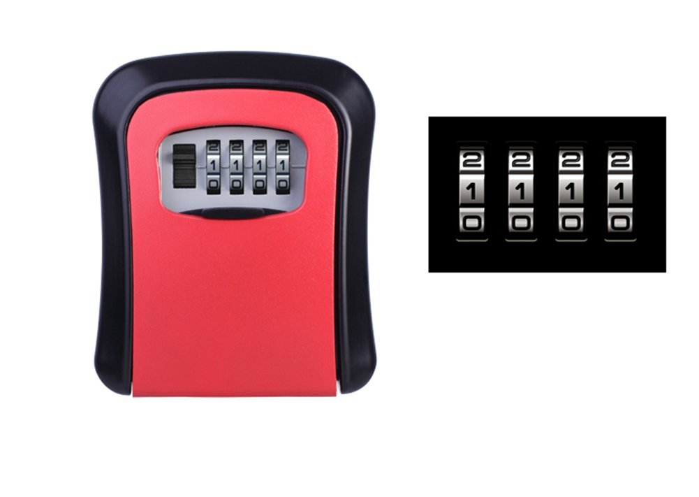 MIAO@LONG Key Lock Box Wall-Mounted Red Mechanical Retro Combination Lock,Red
