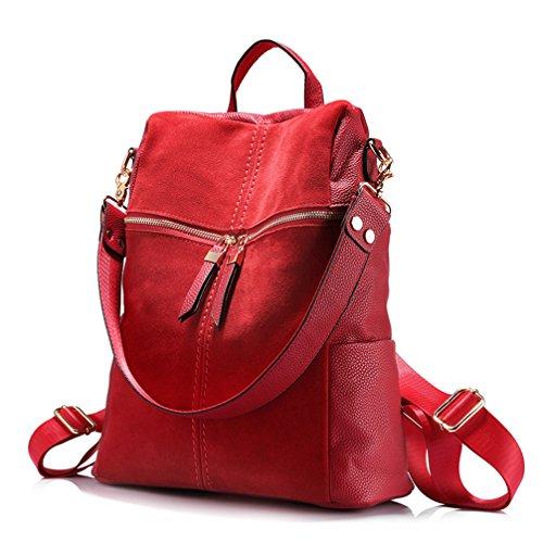 Vintage Mujer Mochila Cuero de Nubuck+PU mochilas escolares para niñas adolescentes Casual bolsas de hombro Rojo