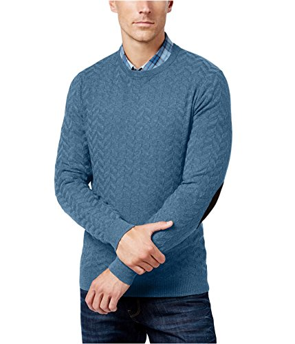 Tasso Elba Mens Chevron Shadow Long Sleeve Sweater Blue L from Tasso Elba