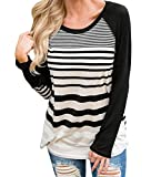 Women's Long Sleeve T Shirt Casual Striped Elbow Patch O Neck Raglan Sleeve Blouse Tops Black Large