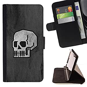 Momo Phone Case / Flip Funda de Cuero Case Cover - Minimalista Cráneo - B & W Goth - Sony Xperia Z5 5.2 Inch (Not for Z5 Premium 5.5 Inch)
