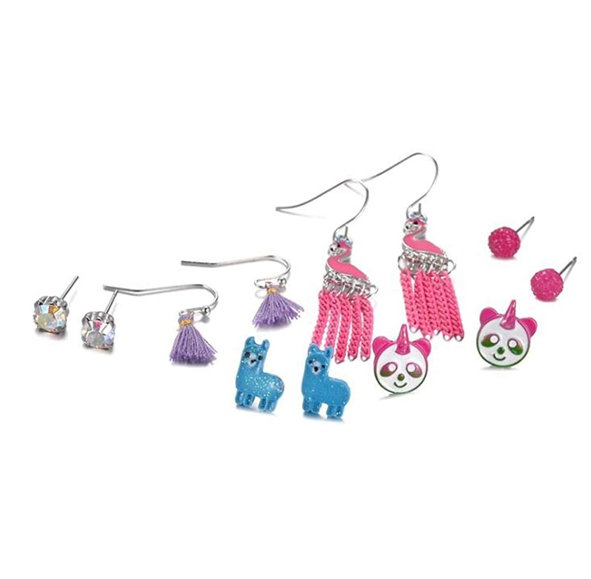 6 Pair ,Flamingo Earrings Set for Women Libaraba Colorful Flamingo Panda Alpaca Tassels Stud Earrings Set Multicolor