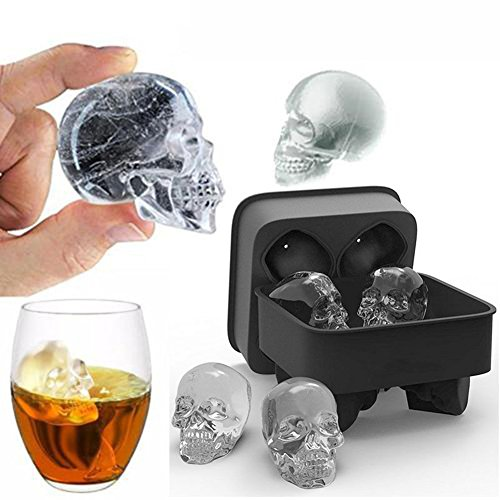 gainvictorlf Halloween Supplies 3D Skull Head Shape Silicone Ice Cube Mold Tray Bar Home Party Halloween Mould - Black -