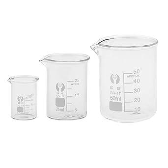 Sgerste 10/ml 25/ml 50/ml en verre borosilicate Transparent Gobelet gradu/é en verre Gobelet Verrerie d/école chimie laboratoire Study Fournitures