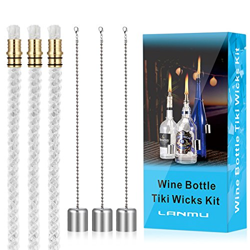 Tiki Torch Wick - LANMU Wine Bottle Torch Wicks,Bottle Torch Kit,Patio Torch Lights Oil Lamp Kit,Citronella Torch,Outdoor Garden Torches,DIY Torch Hardware Kit (3 Fiberglass Wicks,3 Brass Mounts & 3 Lamp Covers)