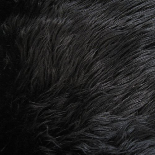 Black Shag Faux Fur Fabric 60