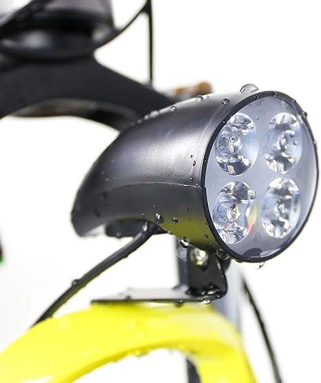 Junstar E-Bike - Faro Delantero para Bicicleta eléctrica (LED, 36-48 V, 4 W, con Cuerno): Amazon.es: Deportes y aire libre