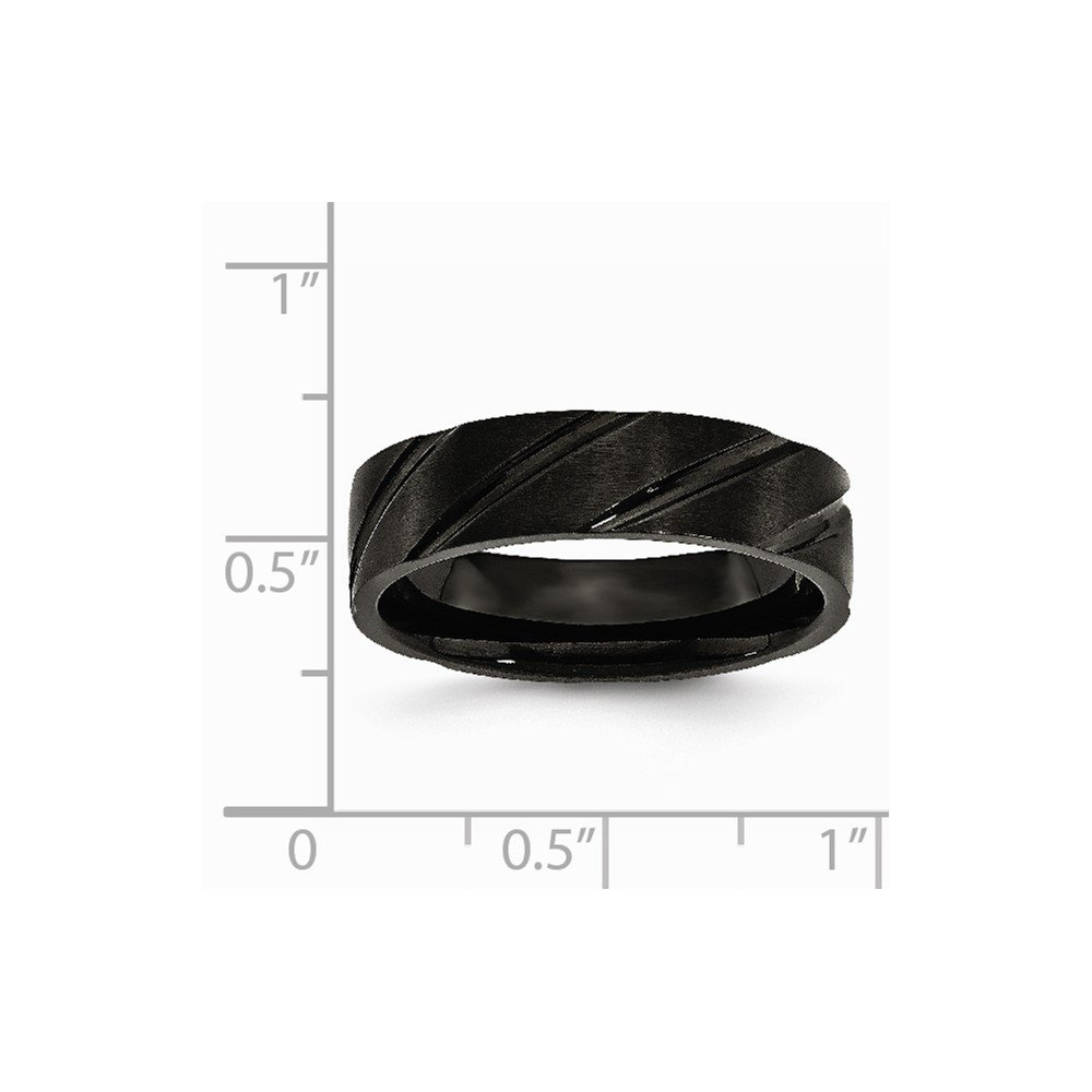 Titanium Swirl Design Black IP-plated 6mm Brushed//Polished Band.