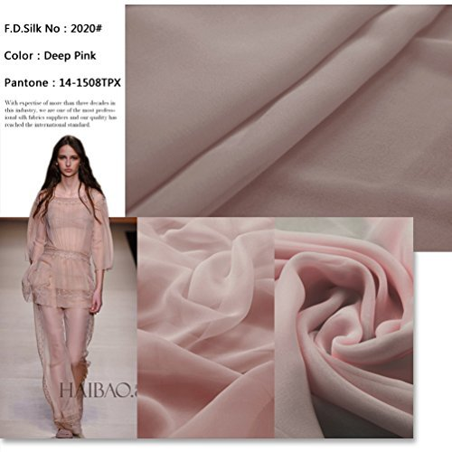 F.d.silk Deep Pink 100% Pure Silk Chiffon Fabric By the Yard, 48 Colors, Deep Pink Ch-020 (Fabric Silk Chiffon)
